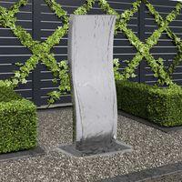 vidaXL Gartenbrunnen mit Pumpe Edelstahl 90 cm Geschwungen