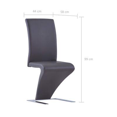 vidaXL Esszimmerstühle in Zick-Zack-Form 6 Stk. Grau Kunstleder
