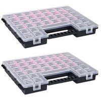 vidaXL Sortimentsboxen 2 Stk. Verstellbare Trennwände 385×283×50 mm