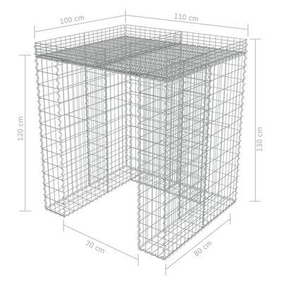 vidaXL Gabionenwand für Mülltonne Verzinkter Stahl 110x100x130 cm
