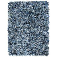 vidaXL Shaggy-Teppich Denim 80 x 160 cm Blau