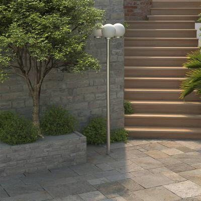 Gartenlampe Straßenlaterne 3 flammig 220 cm Edelstahl