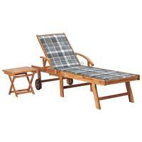 vidaXL Sonnenliege mit Tisch und Auflage Massivholz Teak