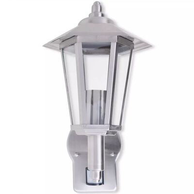 vidaXL Außenwandlampe Laterne Aufrecht Edelstahl mit Bewegungssenor