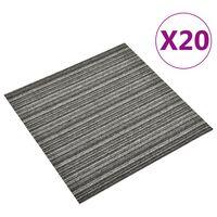 vidaXL Teppichfliesen 20 Stk. 5 m² 50x50 cm Gestreift Anthrazit