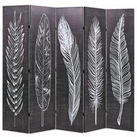 vidaXL Raumteiler klappbar 200 x 170 cm Federn Schwarz-Weiß