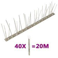 vidaXL 40-tlg. Vogelabwehr-Spikes-Set 20 m Edelstahl 5-reihig