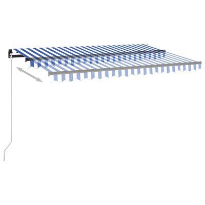vidaXL Automatische Markise mit LED & Windsensor 450x350 cm Blau/Weiß