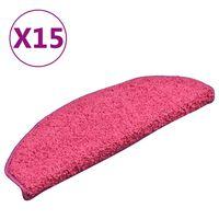 vidaXL Treppenmatten 15 Stk. Rosa 65x21x4 cm