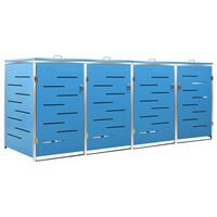 vidaXL Mülltonnenbox für 4 Tonnen 276,5x77,5x115,5 cm Edelstahl
