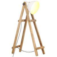 vidaXL Stehlampe Weiß E27 Mango Massivholz