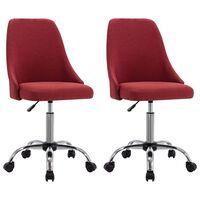 vidaXL Bürostühle 2 Stk. Weinrot Stoff