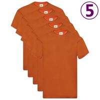 Fruit of the Loom Original T-Shirts 5 Stk. Orange XXL Baumwolle