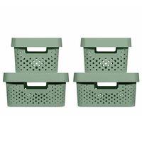 Curver Infinity Aufbewahrungsboxen 4 Stk. mit Deckel 4,5+11L Grün
