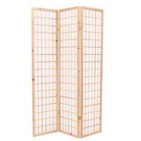 vidaXL 3-tlg. Raumteiler Japanischer Stil Klappbar 120 x 170 cm Natur