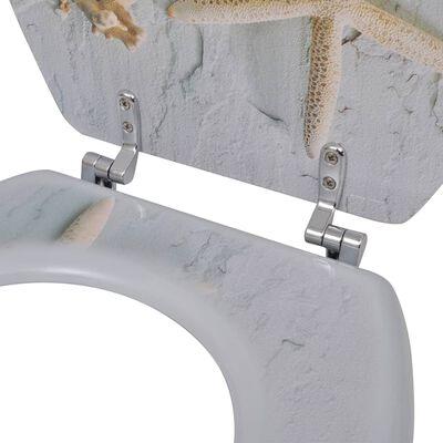 vidaXL Toilettensitze mit Deckel 2 Stk. MDF Seesterne