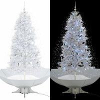 vidaXL Schneiender Weihnachtsbaum mit Schirmfuß Weiß 190 cm