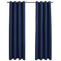 vidaXL Verdunkelungsvorhänge mit Metallösen 2 Stk. Blau 140x175 cm