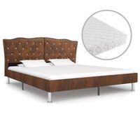 vidaXL Bett mit Matratze Braun Stoff 180 x 200 cm