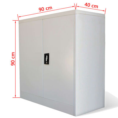 vidaXL Aktenschrank mit 2 Türen Grau 90 cm Stahl