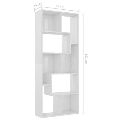 vidaXL Bücherregal Hochglanz-Weiß 67x24x161 cm Spanplatte