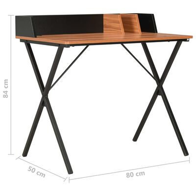 vidaXL Schreibtisch Schwarz und Braun 80x50x84 cm