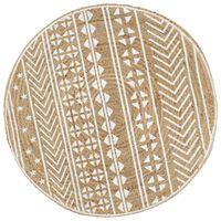 vidaXL Teppich Handgefertigt Jute mit weißem Aufdruck 90 cm