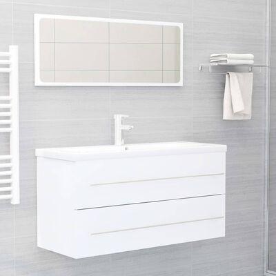 vidaXL Waschbeckenunterschrank Weiß 100x38,5x48 cm Spanplatte
