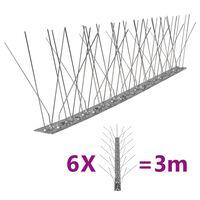 vidaXL 6-tlg. Vogelabwehr-Spikes-Set 3 m Edelstahl 5-reihig