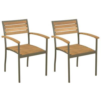 vidaXL Stapelbare Gartenstühle 2 Stk. Akazie Massivholz und Stahl
