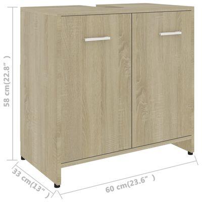 vidaXL Badezimmerschrank Sonoma-Eiche 60x33x58 cm Spanplatte