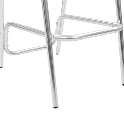vidaXL 3-tlg. Bar-Set mit Rundem Tisch Silbern Aluminium