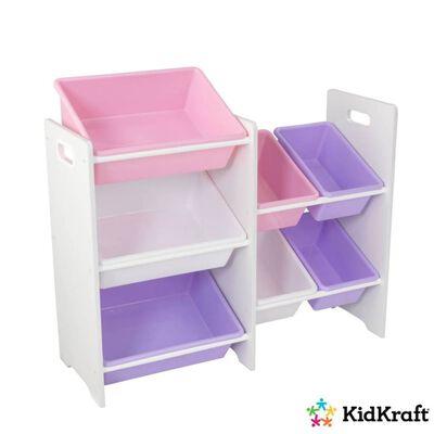KidKraft Spielzeug-Regal mit 7 Kisten Pastell Weiß 83,01x29,97x73,66cm