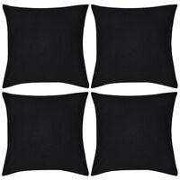 4 schwarze Kissenbezüge Baumwolle 50 x 50 cm