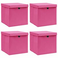 vidaXL Aufbewahrungsboxen mit Deckel 4 Stk. Rosa 32×32×32cm Stoff