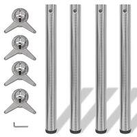 4x höhenverstellbares Tischbein Tischbeine Nickel gebürstet 710 mm
