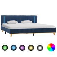 vidaXL Bettgestell mit LED Blau Stoff 180x200 cm