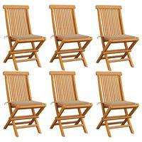 vidaXL Gartenstühle mit Beige Kissen 6 Stk. Massivholz Teak
