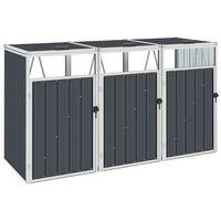 vidaXL Mülltonnenbox für 3 Mülltonnen Anthrazit 213×81×121 cm Stahl