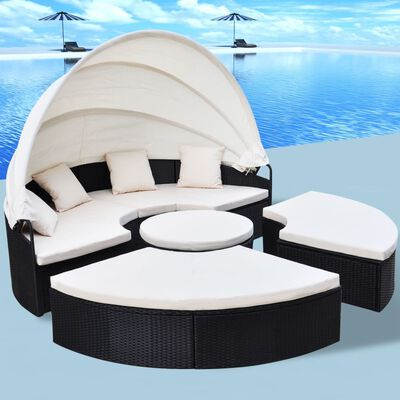 vidaXL Outdoor-Sonneninsel Poly Rattan Schwarz