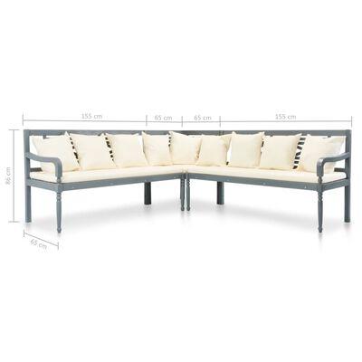 vidaXL 3-tlg. Gartensofa mit Auflagen Akazie Massivholz Grau