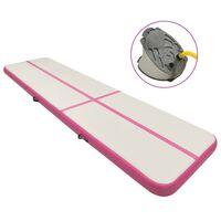 vidaXL Aufblasbare Gymnastikmatte mit Pumpe 600x100x15 cm PVC Rosa