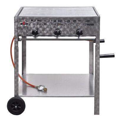 vidaXL Gastro-Gasgrill 3 Brenner Edelstahl BBQ Bräter mit Ablageregal