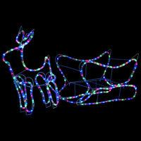 vidaXL Weihnachtsdekoration Rentiere und Schlitten Outdoor 252 LEDs