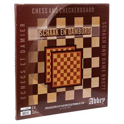 Abbey Game Schach- und Damespielbrett 41×41 cm Holz Braun und Beige
