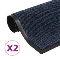 vidaXL Schmutzfangmatten 2 Stk. Rechteckig Getuftet 40x60 cm Blau