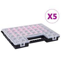 vidaXL Sortimentsboxen 5 Stk. Verstellbare Trennwände 385×283×50 mm