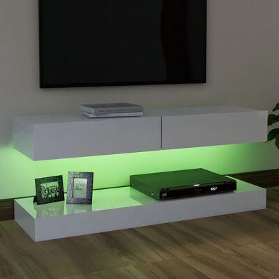 vidaXL TV-Schrank mit LED-Leuchten Hochglanz-Weiß 120x35 cm