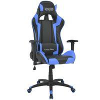vidaXL Bürostuhl Gaming-Stuhl Neigbar Kunstleder Blau
