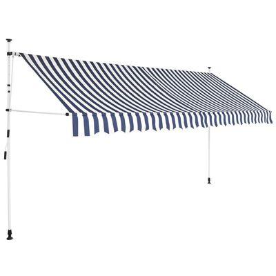 vidaXL Einziehbare Markise Handbetrieben 400 cm Blau/Weiß Gestreift